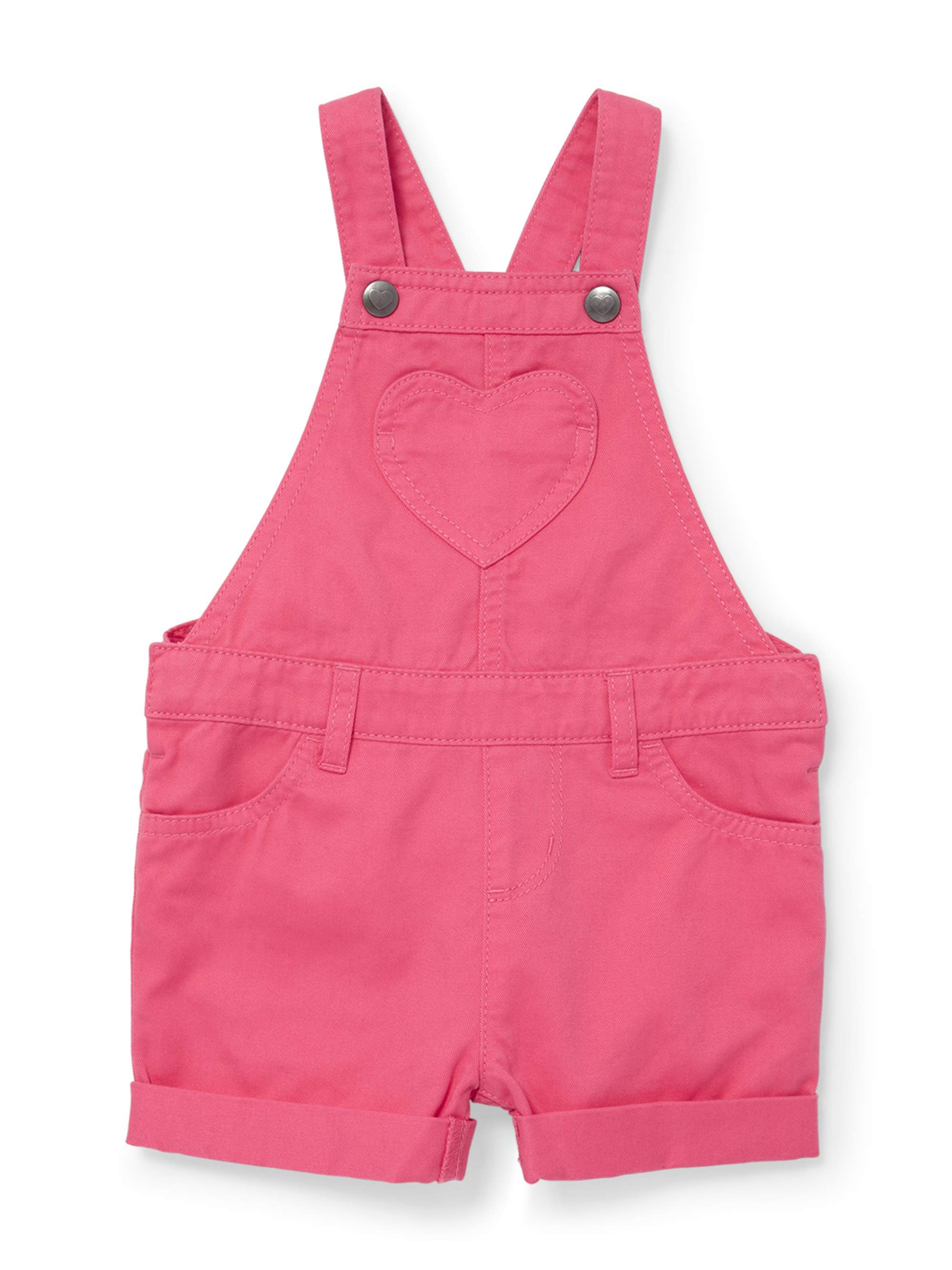 Pink Solid Denim Shortalls (Baby Girls & Toddler Girls)