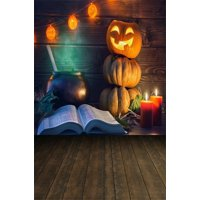 MOHome Polyster 5x7ft Photography Studio Backdrops Girl Toddler Photo Shoot Background Halloween Grimace Pumpkin Lamp Book Candle Wood Floor Artistic Portrait Digital Video Props Night Scene