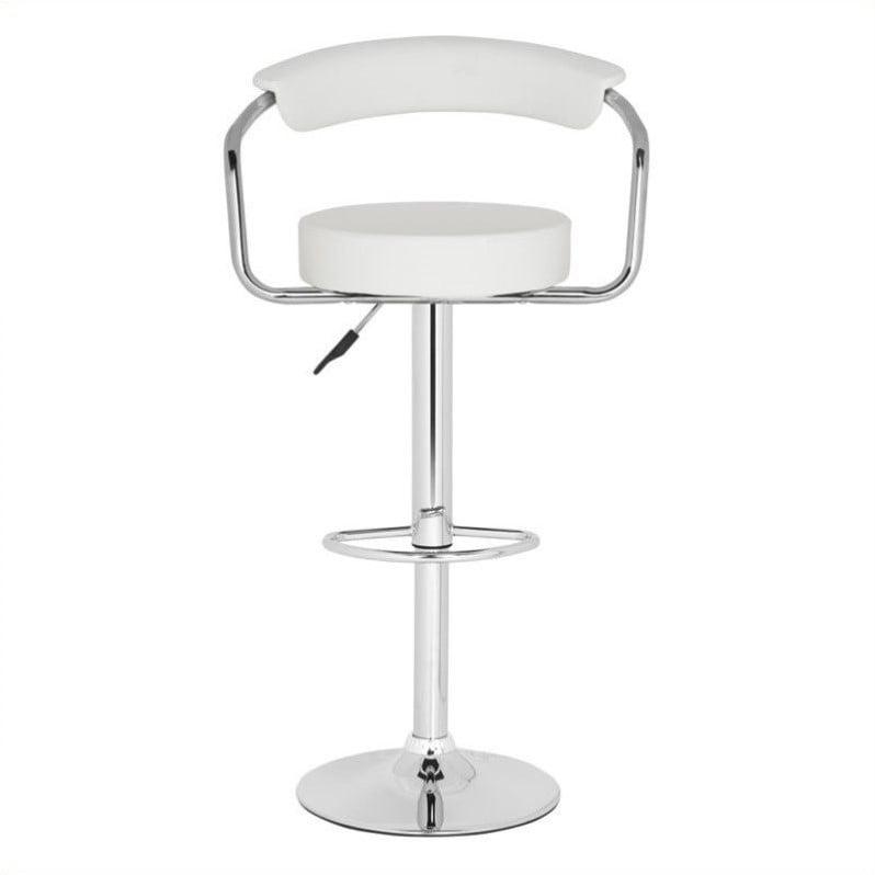 "Safavieh Angus 25.2""-31.5"" Chrome Steel Bar Stool in White - image 1 of 1"