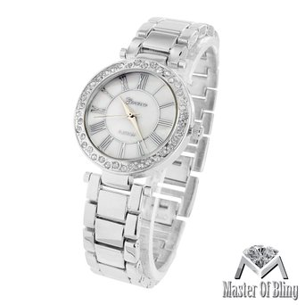 White Gold Tone Watch Parker Acetate Link Womens Slim Design Lab Diamond Bezel