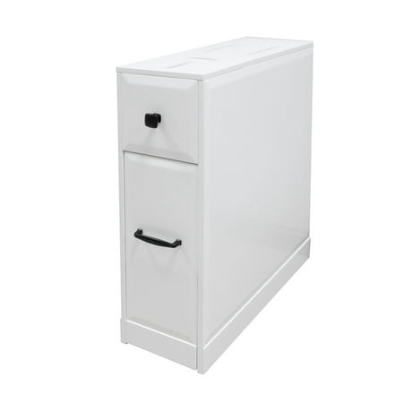 Clevr Free-Standing Toilet Paper Holder Bathroom Cabinet SlideOut Drawer Storage White ()