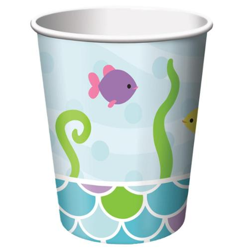 Club Pack of 96 Mermaid Friends Disposable Paper Hot and Cold Drinking Party Cups 9 oz.