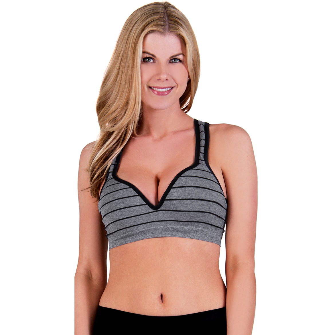 Striped Underwire Push Up Sports Bra
