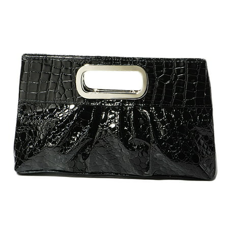 Chicastic Oversized Glossy Patent Leather Casual Evening Clutch Purse with Metal Grip Handle - Black Davis Metal Mesh Clutch