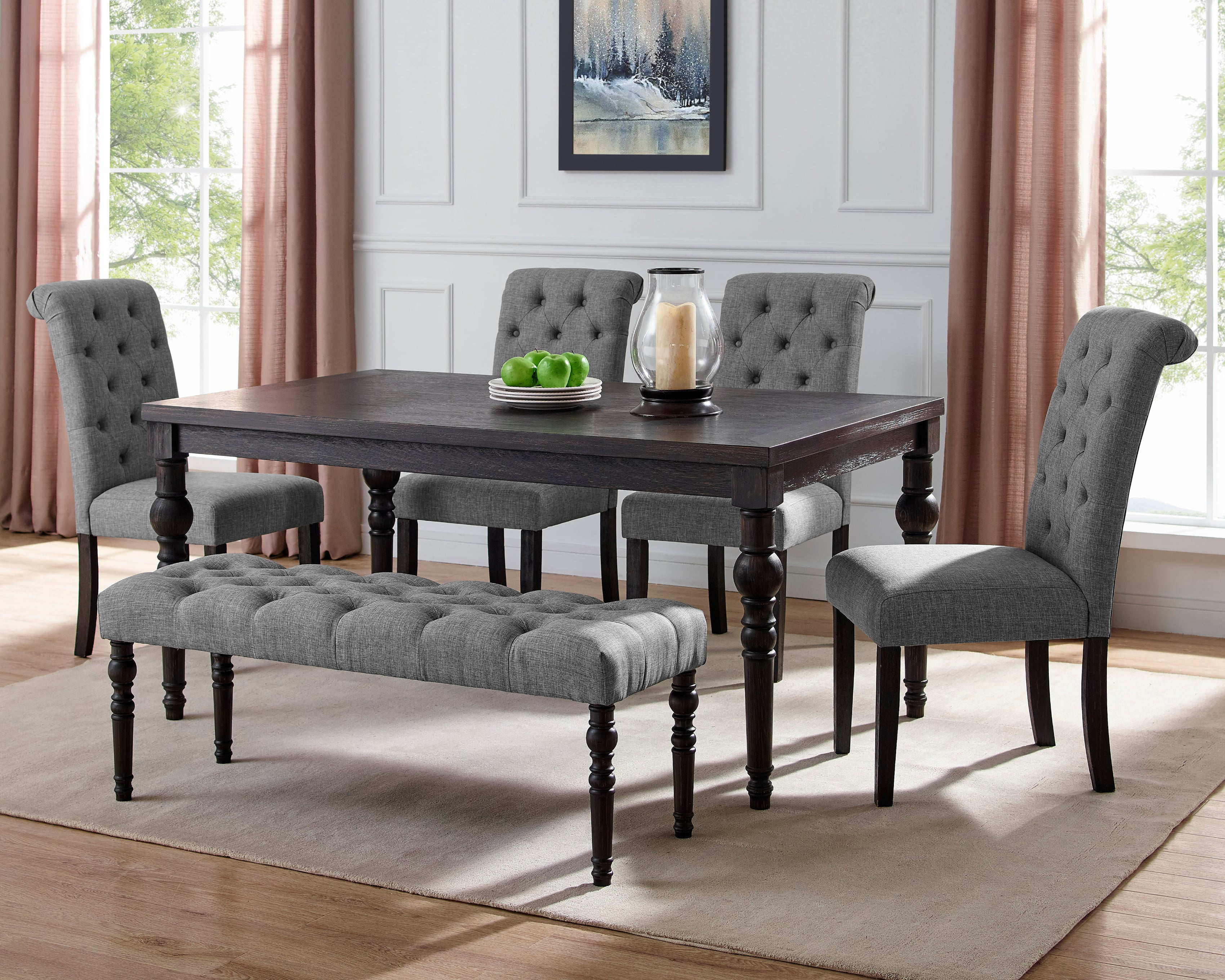 dark wood dining table and bench set