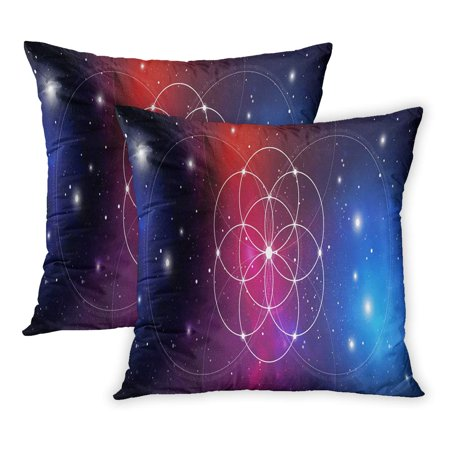 ECCOT Flower of Life Sacred Geometry Golden Ratio Numbers Interlocking Circles Flows Energy and Particles PillowCase Pillow Cover 20x20 inch Set of 2