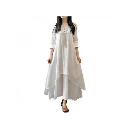 Fymall Womens Cotton Linen Maxi Dress Long Sleeve - Linen Long Dress