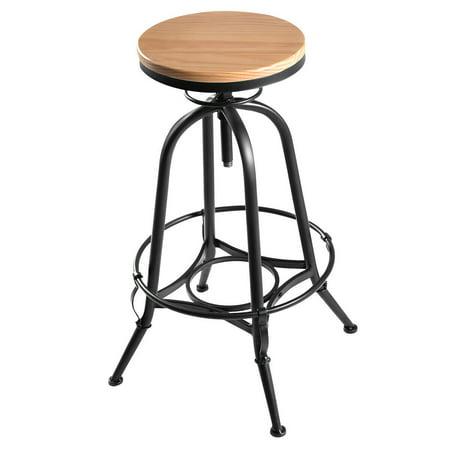 - Costway Vintage Bar Stool Metal Frame Wood Top Adjustable Height Swivel Industrial