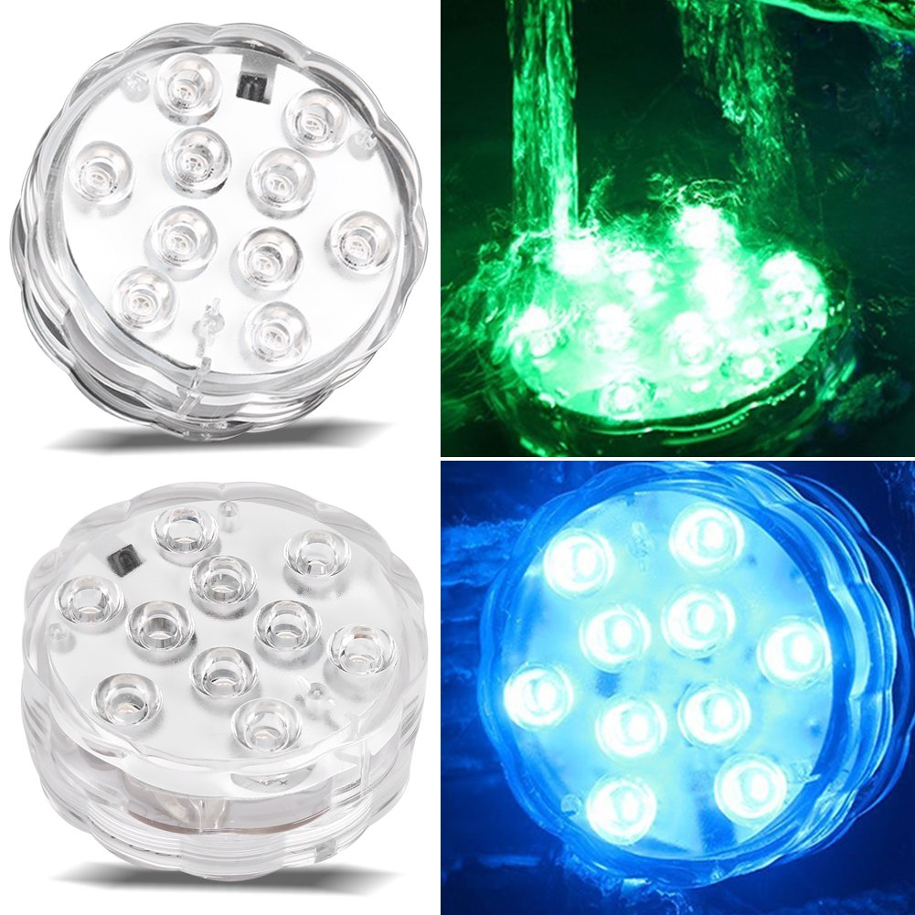 Qiilu Remote Control Submersible Waterproof Led Light Color