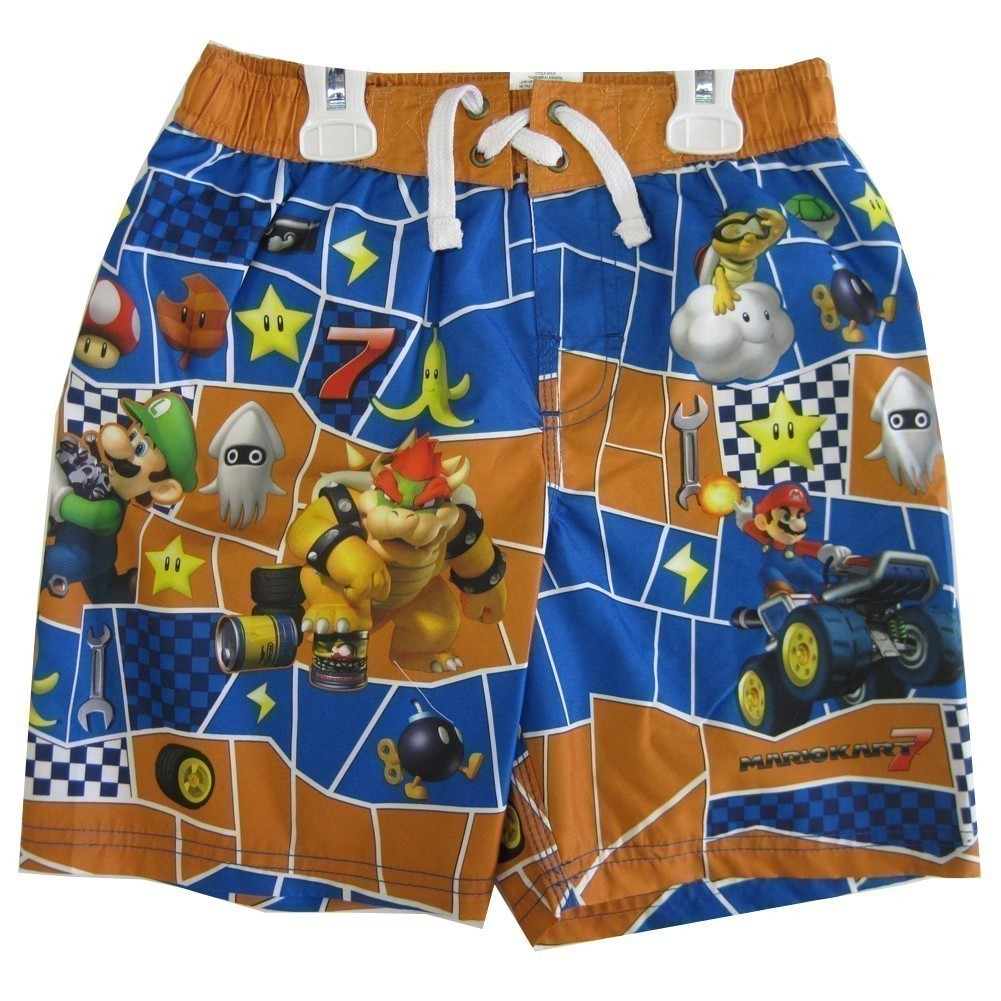 Little Boys Orange Blue Character Printed Swim Wear Shorts 5-6