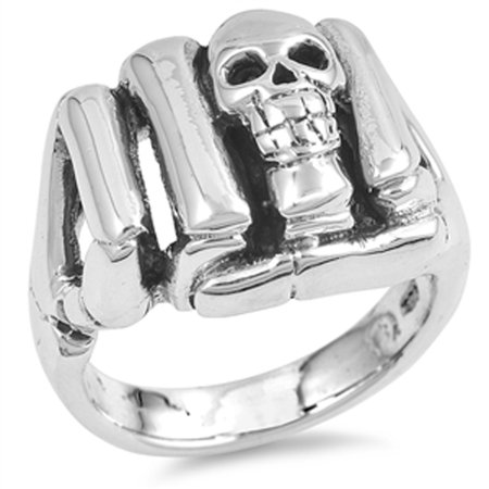 Skull Hand Biker Fist Gang Punch Ring New .925 Sterling Silver Band Size 13 (Cancer Hand Bands)