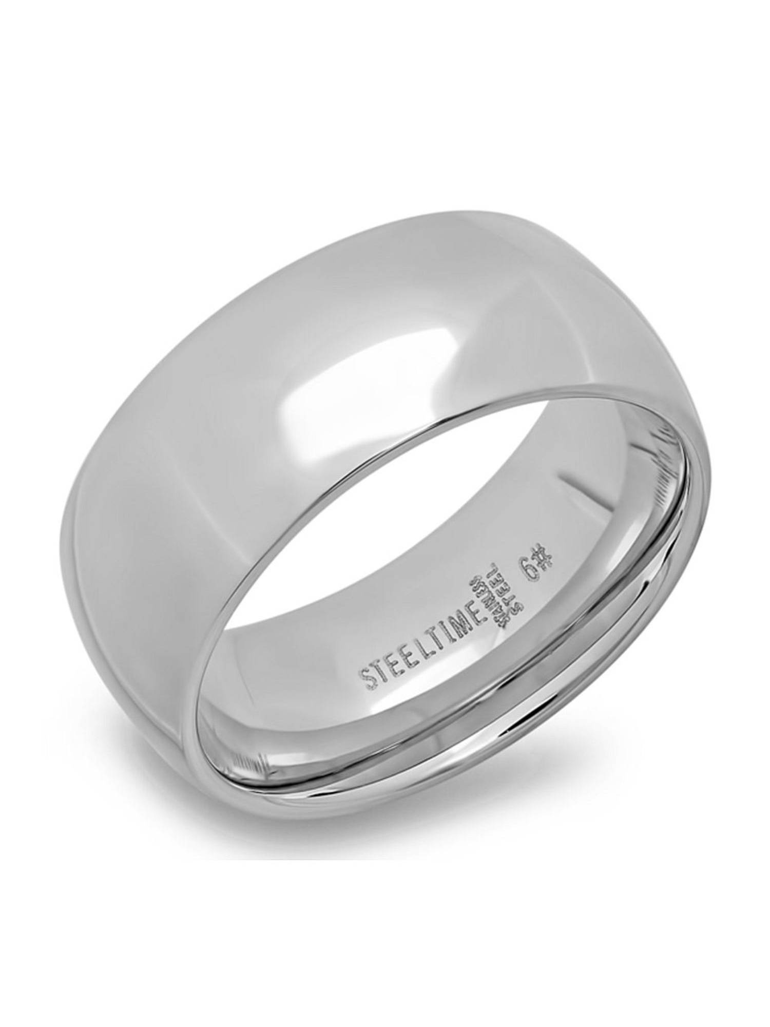 Stainless Steel High Polished Comfort Fit Men's Wedding Band Ring 8mm Wide
