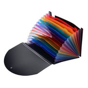Accordian Expanding File Folder 12 Pockets Rainbow Coloured A4 Paper Filing Cabinet with Cover Receipt Organizer with File Guide and Label Cards for Home School Office