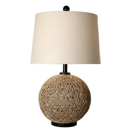 Woven Resin Table Lamp - StyleCraft Woven Natural Rattan Ball Table Lamp