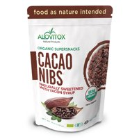Alovitox Cacao Nibs, Sweetened with Premium Yacon Syrup, Great for Back to School Treats, Certified 100% Organic, Zero Sugar, All Natural Raw Cacao, Delicious Superfood, 8oz Resealable Package