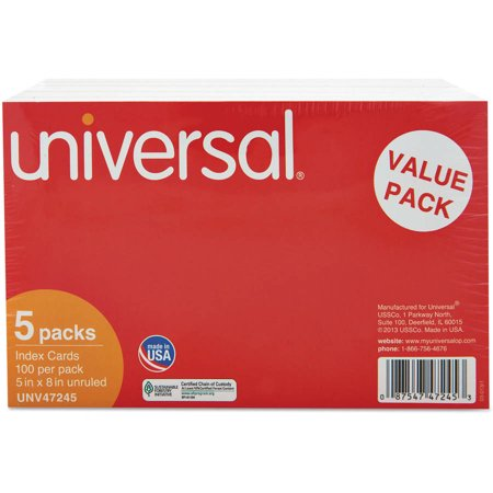 (2 Pack) Universal Unruled Index Cards, 5 x 8, White, 500/Pack -UNV47245