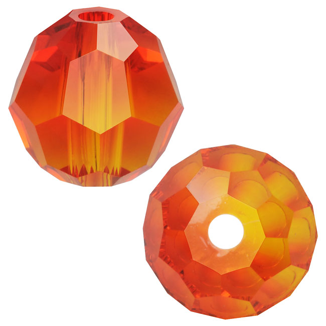 Swarovski Crystal, #5000 Round Beads 6mm, 10 Pieces, Fire Opal