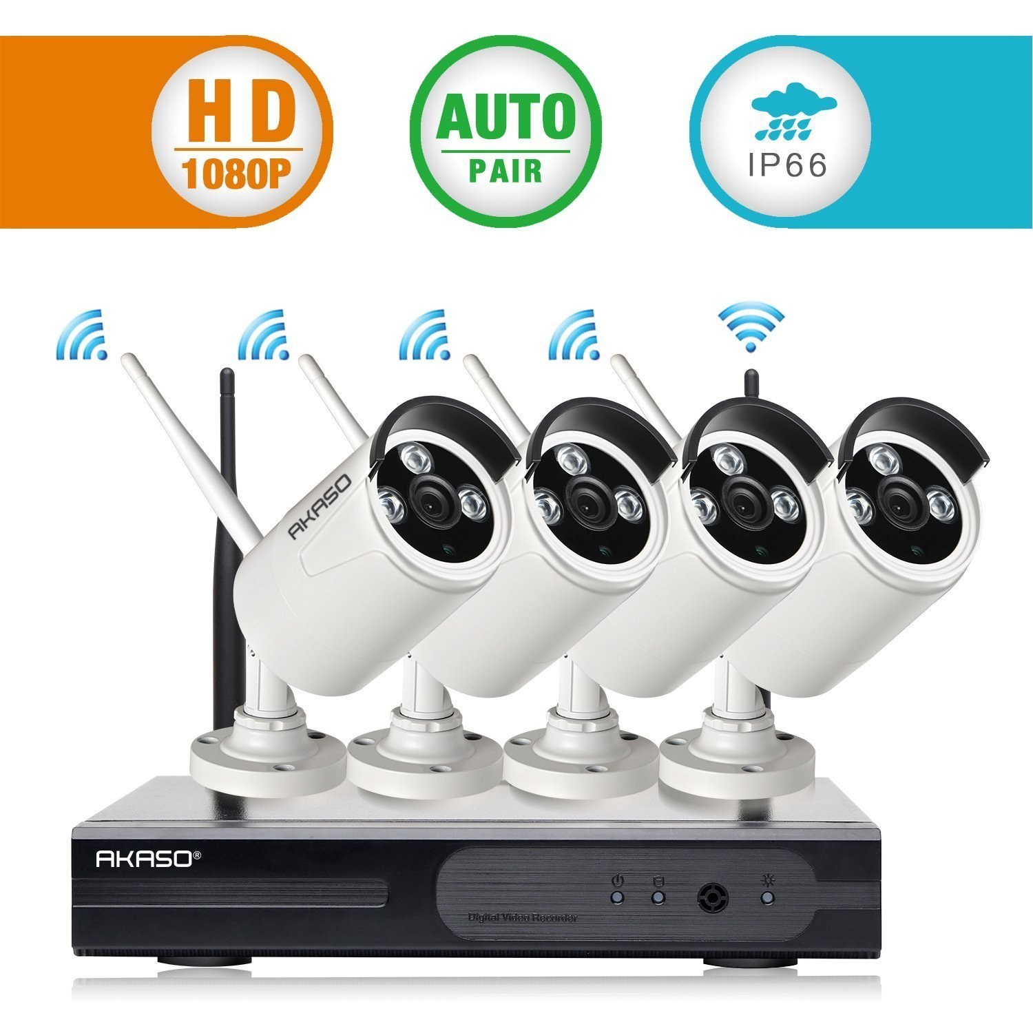 AKASO 4CH 1080P Wireless Network IP Security Camera System WIFI NVR Kits, 4PCS Wireless Outdoor Bullet IP Cameras, P2P, Night Vision 65ft, Auto Pairing