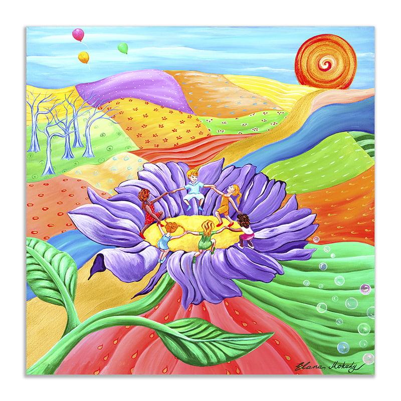 Elana Mokady, Seeds of Life - Children Dancing on a Flower Canvas Wall Art, 20 x 20