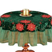 Poinsettia Velvet Table Linens with Ruffled Organza - Holiday Dining Room Table Decor