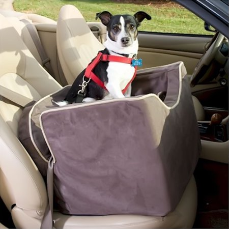 Snoozer Pet Dog Cat Puppy Outdoor Lookout I Car UV Secure Safety Travel Seat Medium Dark Chocolate Buckskin