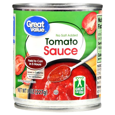 (3 pack) Great Value Tomato Sauce, No Salt Added, 8 oz