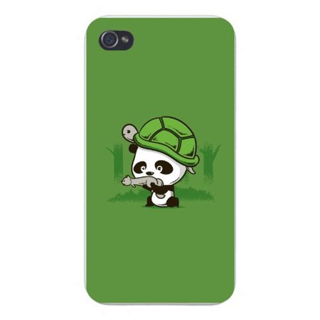 Apple Iphone Custom Case 4 4s White Plastic Snap on - Cute Baby Panda Bear Cub w/ Turtle Helmet & Squirrel Gun Hunting in