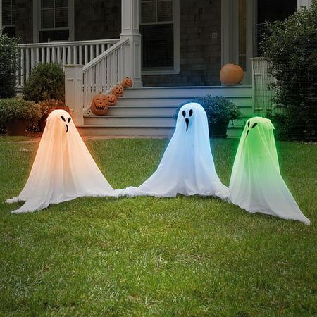(Set/9) Light Up Color Changing Haunting Ghosts Spooky Halloween Yard Décor](Easy Halloween Decorations For The Yard)