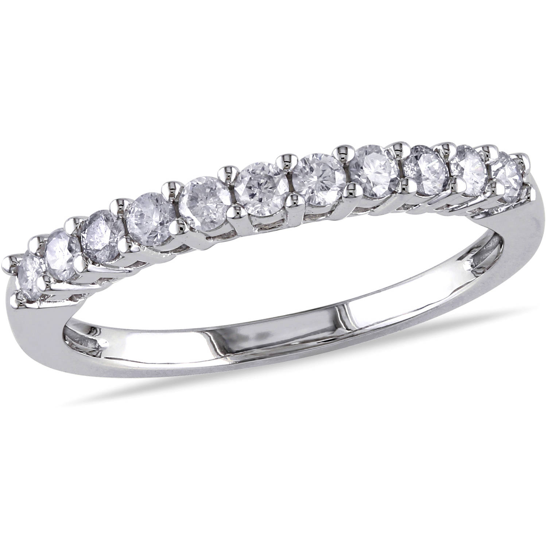 Miabella 1/3 Carat T.W. Diamond 14kt White Gold Semi-Eternity Anniversary Ring