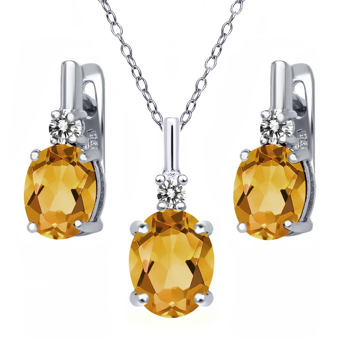 3.52 Ct Oval Yellow Citrine White Diamond 925 Silver Pendant Earrings Set by