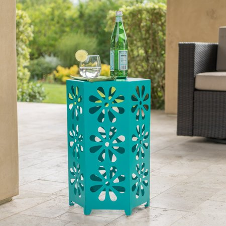 Ellison Outdoor 14 Inch Iron Floral Side Table, Teal ()