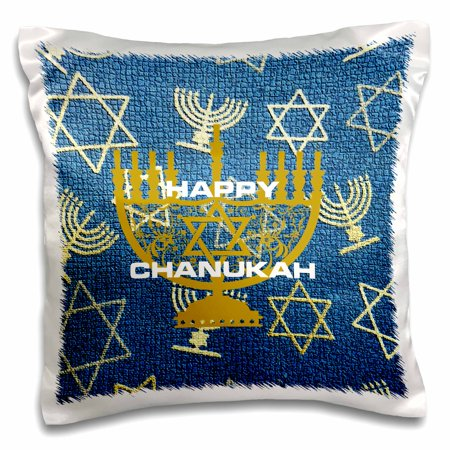 3dRose Happy Chanukah With Menorahs, Pillow Case, 16 by 16-inch](Hanukkah Decor)