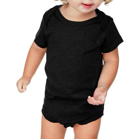 Kavio IJP0492 Infants Lap Shoulder Short Sleeve Onesie Jersey CVC.(Replaces 0431)-Black-12M