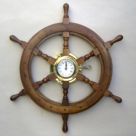 India Overseas Trading Sh4864   Wooden Ship Wheel Porthole Clock  24