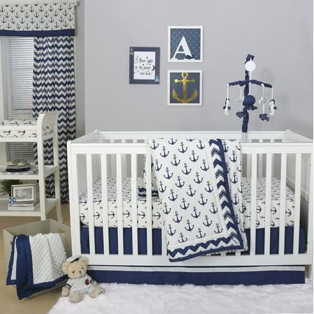 Sail Away Blue Nautical Anchor Baby Crib Bedding - 20 Piece Nursery Essentials Set