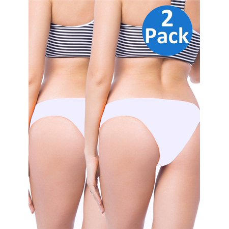 SAYFUT Women's Itsy Back Ruched Cheeky Thong Bikini Bottoms Underwear Stretch Panty 2 Pack