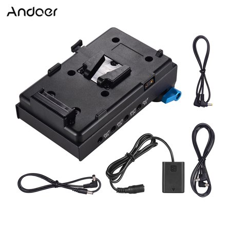 Andoer V Mount V-lock Battery Plate Adapter with 15mm Dual Hole Rod Clamp NP-FW50
