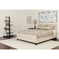 Twin Size Two Button Tufted Platform Bed in Beige Fabric