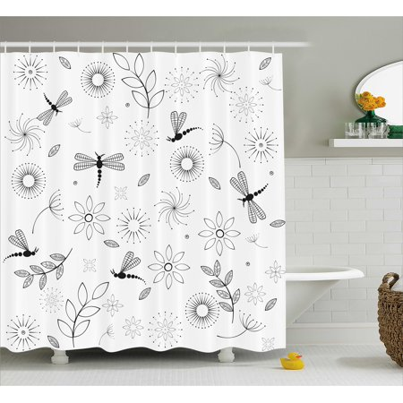 Dragonfly Shower Curtain Indian Bohem Inspired Flying Butterfly Like Bugs And Flowers Dandelion Image