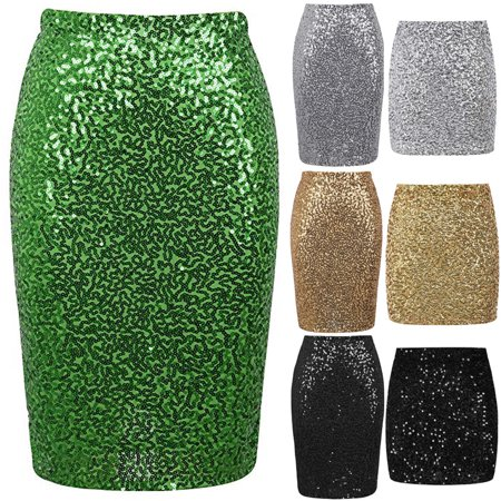 Urkutoba Women's Sequin Skirt Bodycon Sparkle Mini Skirt Night Out Party Pencil Long Dress - Sparkle Skirts Promo Code