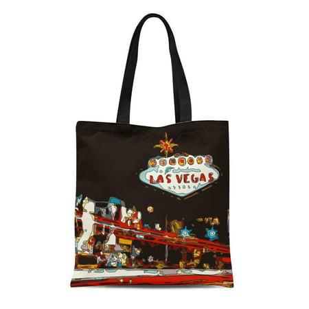 LADDKE Canvas Tote Bag Sin Welcome to Las Vegas Baby City Gambling Casino Reusable Handbag Shoulder Grocery Shopping Bags