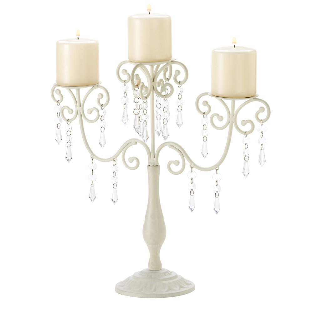 Crystal Candle Candelabra, Ivory White Candelabra Candle Holder 3-candle by Gallery of Light