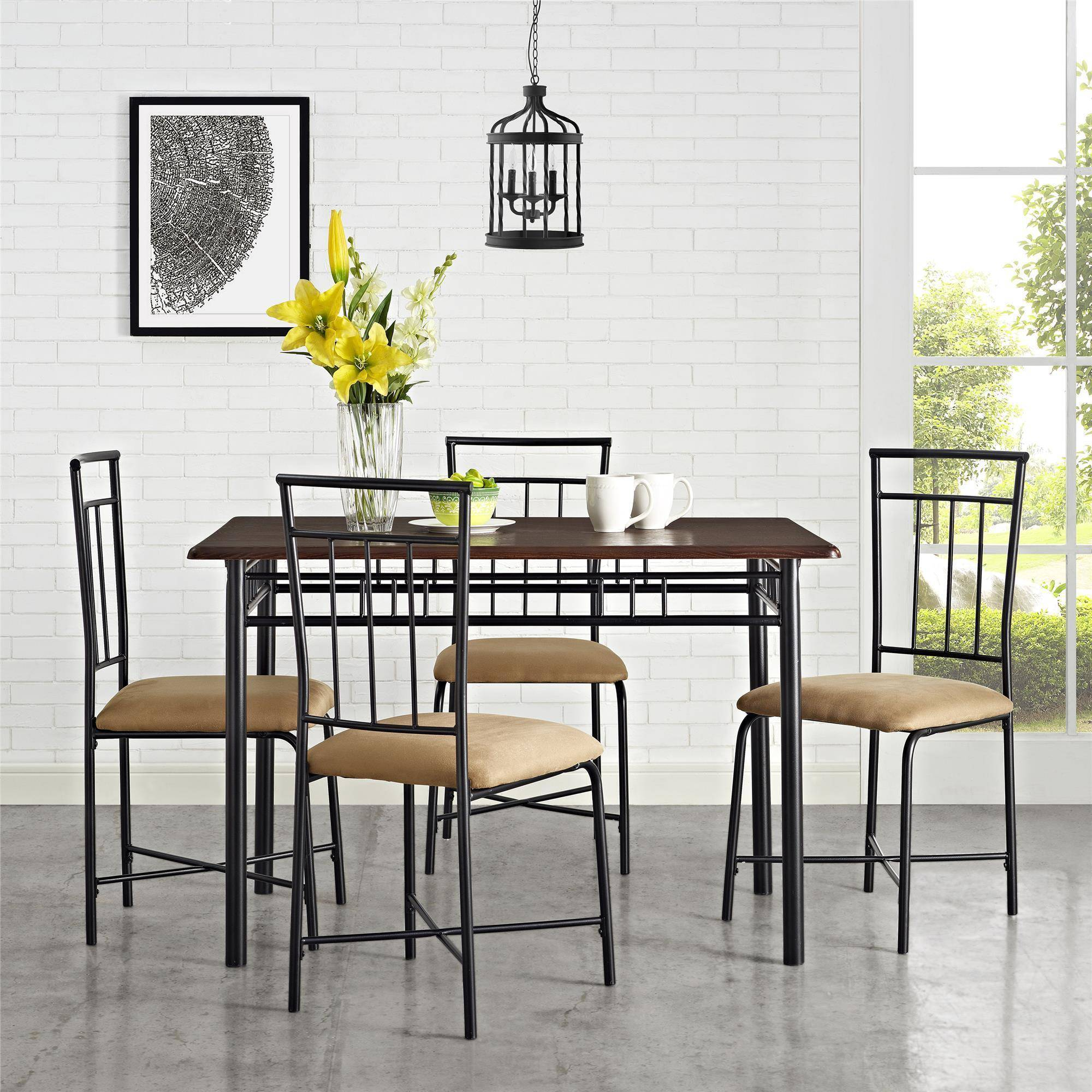 Mainstays 5-Piece Wood and Metal Dining Set, Multiple Colors