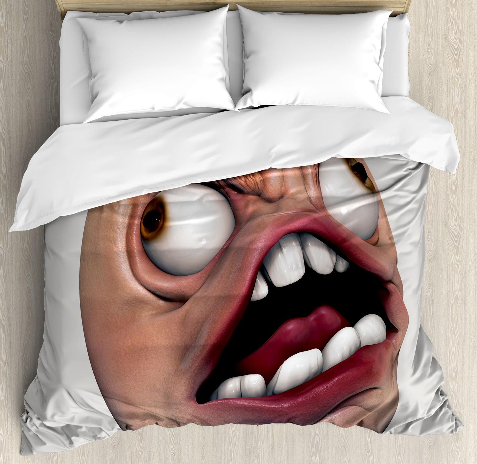 Humor Decor Queen Size Duvet Cover Set Angry Rage Guy Meme Bad Hair