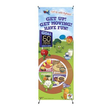 Learning ZoneXpress Active Kids MyPlate Vinyl Banner with Stand ()