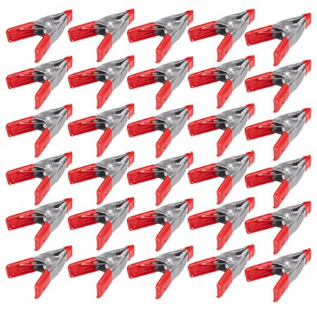 Wideskall  2  Inch Mini Metal Spring Clamps W  Red Rubber Tips Clips  Pack Of 30
