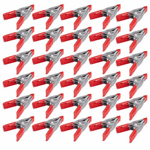 "Wideskall® 2"" inch Mini Metal Spring Clamps w/ Red Rubber Tips Clips (Pack of 30)"