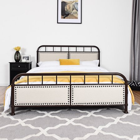 Queen Size Metal Bed Frame Platform, Queen Metal Bed Frame With Headboard Only
