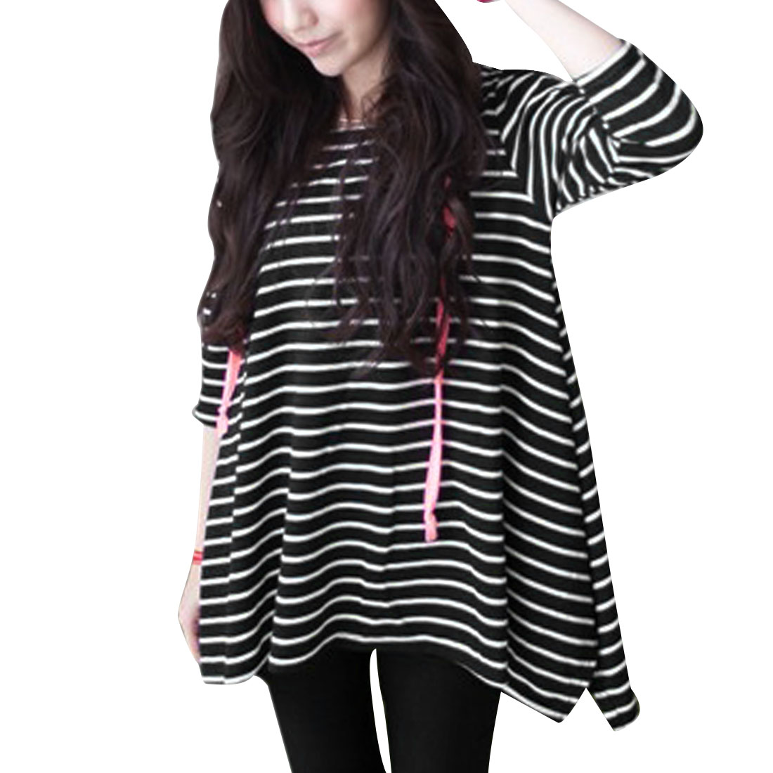 Women's Hooded Pullover 3/4 Sleeve Stripes Loose Stylish Top Shirt (Size S / 4)