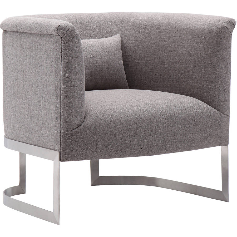 Armen Living Elite Accent Chair, Brushed Steel Finish with Fabric Upholstery by Generic
